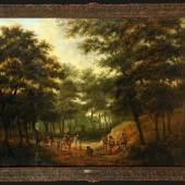 """Hackaert, Jan, zugeschr., ca. 1629 - 1685 Amsterdam Öl/Lwd, doubl., 90 x 117 cm, """" Waldlandschaft mit rastender Jagdgesellschaft """",  Mindestpreis:15.000 EUR"""