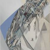 Zaha Hadid Iraqi-British, 1950 – 2016 The World (89 Degrees), 1984 Print with hand applied gouache and ink wash on paper Sheet: 69.9 x 57.5 cm (27 1/2 x 22 5/8 inches) From the Collection of the Alvin Boyarsky Archive   © Zaha Hadid Foundation