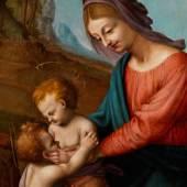 592 Piero di Cosimo, 1462 Florenz - 1521  MADONNA MIT KIND UND DEM JOHANNESKNABEN Öl auf Holz. Durchmesser: 91,5 cm. Gerahmt.  Schätzpreis: € 500.000 - 800.000