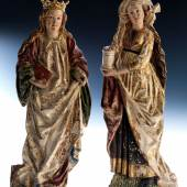 147 Hans Klocker, tätig um 1478 - 1500  Paar Hochrelief-Figuren WEIBLICHE HEILIGE und HEILIGE MARIA MAGDALENA Höhe: 39,5 bzw. 40 cm.  Schätzpreis: € 55.000 - 65.000