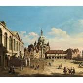 """177 Bernardo Bellotto,  genannt """"Canaletto"""",  1721 Venedig – 1780 Warschau  DER NEUMARKT IN DRESDEN MIT BLICK AUF DIE FRAUENKIRCHE Öl auf Leinwand.  62 x 96 cm.  Katalogpreis € 500.000 - 700.000"""