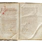 """Excerpta ex operibus sancti Augustini - """"Incipit liber Eugepii scarsum ex dictis sancti Augustini."""" Lateinische Handschrift auf Pergament  Schätzpreis:250.000 EUR"""