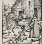 """Hans Burgkmair (1473–1531), """"Der junge Weißkunig lernt das Artilleriewesen"""",  Holzschnitt, Alte Galerie"""