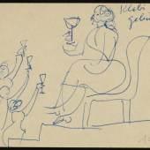 Hans Hildebrandt; Martha Keller an Berta SchleicherWilli Baumeister Postkarte, 27.11.1951 © VG Bild-Kunst, Bonn 2018