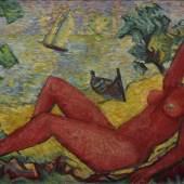 "Hauptmann, Ivo (1886-1973) ""Liegender roter Akt am Strand - Erna Aufrufpreis:3.300 EUR"