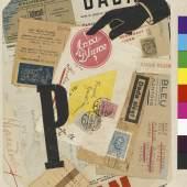 Raoul Hausmann P, um 1920-1921 Collage mit bedrucktem Papier und Tinte, 31,2 x 22 cm Hamburger Kunsthalle, Kupferstichkabinett © 2015 ProLitteris, Zürich