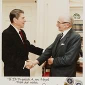 Hayek, F., Photograph of Hayek meeting Reagan, signed by Reagan (£1,500-2,00)