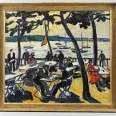 Heckendorf, Franz (Berlin 1888 - 1962 München)  Gemälde, Öl auf Leinwand, Strandlokal am Wannsee Mindestpreis:5.000 EUR