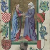 Heimsuchung Mariens, umgeben von Wappen (Herzog Georg I. von Münsterberg-Oels, 1470 – 1502), Stundenbuch (lat.), Schlesien, um 1500 © Österreichische Nationalbibliothek