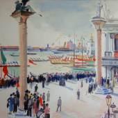 Emanuel Fohn (Klagenfurt 1881 - 1966 Bozen) Markusplatz Gouache, 1932 43 x 64 cm  Zur Verfügung gestellt von: Galerie Heinze