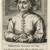"""Hendrik Hondius (1573–1650): Hieronymus Bosch, aus der Serie """"Pictorum aliquot celebrium praecipuae Germaniae inferioris effigies"""", 1610, Kupferstich-Kabinett, Staatliche Kunstsammlungen Dresden"""