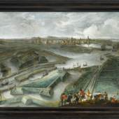 Hendrik van Minderhout, A view of Ostend, with the Fort Saint Philippe and the Slijkens Sluice, with figures in the foreground and the flag of Flanders, Est. £20,000 – 30,000