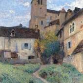 Henri Martin (1860 - 1943)  L'Eglise de Saint-Cirq-Lapopie   Trinity House Paintings