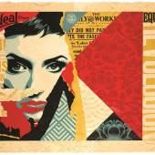 Shepard Fairey, Ideal Power, 2018, silkscreen & mixed media, collage on paper, HPM, ed. 1/12, 85,1x120,7cm
