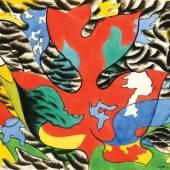 Herbert Bayer, Red leaf in wind, 1943, Aquarell, Bleistift auf Papier, 57,6 x 78,7 cm