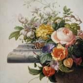 Herman Henstenburgh (1667–1726) Blumengebinde, 1700 Wasser- und Deckfarben auf Pergament, 340 × 286 mm Städel Museum, Frankfurt am Main © Städel Museum, Foto: U. Edelmann