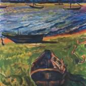 Hermann Max Pechstein Boote am Dangaster Priel, verso: Kühe Öl auf Leinwand, 1910. 80 x 70 cm (31.4 x 27.5 in) Schätzpreis: € 600.000-800.000