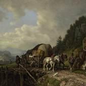 Heinrich Bürkel (1802- 1869), Heuwagen beim Überqueren einer Brücke, Öl/Karton, (Schätzpreis 18 000 Euro)
