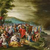 Hieronymus Francken III. (Antwerpen 1611 - nach 1661) Die Israeliten mit dem Sarg Josefs nach dem Zug durch das Rote Meer   Öl auf Kupfer   50 x 68 cm Taxe: 10.000 - 15.000 Euro