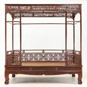 A huanghuali canopy bed  Early Qing Dynasty, 17th century L. 224cm W. 147.7cm H. 231.2cm  Ever Arts Gallery, Hong Kong