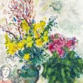 Marc Chagall (1889 – 1985), Les Amoureux au Bouquet, 1978, Gouache, Tempera, Pastell und schwarze Kreide auf Papier, 77,4 × 57,7 cm, Schätzpreis: € 250.000 – 500.000