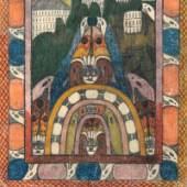 """783 Wölfli, Adolf 1864 Bowil (bei Bern) – 1930 Bern Komposition.- Buntstiftzeichnung, verso seitlich sign. """"Skt. Adolf II."""", div. (Zoll-) Stempeln u.a. """"Flughafen Hamburg"""" u. """"Dogana Verona Sez. Ferrovia"""". Rückseitiges Papieretikett der Galerie Brockstedt in Hamburg. Provenienz: Hamburger Privatsammlung, wohl 1967 erworben anlässlich der Einzelausstellung d. Künstlers i.d. Galerie Brockstedt in Hamburg. Schätzpreis 11.000,- EUR"""