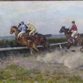 Hockmann, Franz Gustav 1861 - 1936, Öl auf Leinen, Pferde und Jockeys beim Sprung über die Jagdhürde, Mindestpreis:1.400 EUR