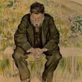 Ferdinand Hodler (1853–1918) Arbeitslos, um 1891 Bleistift, Kohle, Pastell, Wasserfarbe auf Papier, 61 x 46 cm © Sammlung Christoph Blocher