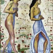 Ferdinand Hodler (1853–1918)  Zwei Frauen in Blumen (Empfindung 1a), 1901-1906 Öl auf Leinwand, 116 x 87,5 cm Archäologie und Museum Baselland © SIK-ISEA Zürich