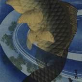 Katsushika Taito II Karpfen (Koi), um 1830-1844 Mehrfarbiger Holzschnitt, 36,4 x 17 cm Staatliche Museen zu Berlin, Museum für Asiatische Kunst Foto: Courtesy Art Research Center Ritsumeikan University, Kyoto