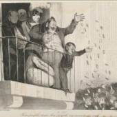 Honoré Daumier, Premier avril. Tiens peuple, tiens, bon peuple, en veux-tu, en voilà [Nehmt nur Ihr guten Leute, nehmt nur! Wollt Ihr noch mehr? Nehmt Euch nur], 1835, Staatliche Graphische Sammlung München © Staatliche Graphische Sammlung München