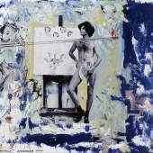 """Christian Ludwig Attersee, """"Feuerstelle"""", 2001 Privatbesitz. Foto: Atelier/ Archiv Attersee, Wien Mischtechnik mit Foto aus 1968 auf Karton, 36 x 48 cm"""