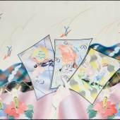 """Christian Ludwig Attersee, """"Ansichtskarten"""", 1971 Privatbesitz. Foto: Atelier/ Archiv Attersee, Wien Mischtechnik auf Karton, 110,5 x 140 cm"""