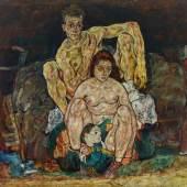 Kauerndes Menschenpaar (Die Familie), 1918 Foto: Johannes Stoll © Belvedere, Wien Öl auf Leinwand, 150 x 160,8 cm