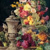 Ferdinand Georg Waldmüller, Stillleben mit Früchten, Blumen und silbernem Pokal © Belvedere, Wien