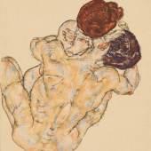 Egon Schiele Mann und Frau (Umarmung), 1917 Yageo Foundation Collection, Taiwan, Foto: © Richard Nagy Ltd., London Gouache und Kreide auf Papier, 45 × 29,5 cm