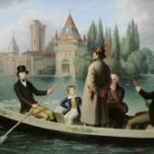 Johann Peter Krafft, Kaiser Franz I. setzt einen Mann auf dem Laxenburger Teich über, um 1837 © Schloss Artstetten, Niederösterreich Öl auf Leinwand, 56,5 x 73,5 cm