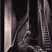 HR Giger, Schacht VII, 1966, Tusche auf Papier, auf Holz, 83.5 × 63 cm © Nachlass HR Giger