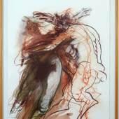 Alfred Hrdlicka, Nymphe und Satyr, 1995, Rötel, Pastell und Aquarell auf Papier, 150 x 102 cm