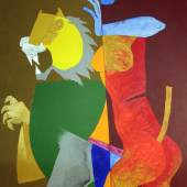 Gallery : Aicon Gallery Title : Durga Series Artist : M.F. Husain Date : 1976 Medium : Acrylic on canvas Courtesy : Courtesy of Aicon Gallery Dimension : 89.5 x 55.5 in.