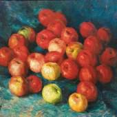 2685 Igor Emanuilovich Grabar (1871 Budapest – 1960 Moskau). Sign. und (19)47 dat. Stilleben mit Äpfeln. Öl/Lwd. 57,5 x 78 cm. R Limit 4.000 € Ergebnis 11.600 €*