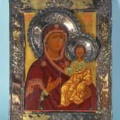 """Ikone """"Gottesmutter Smolenskaja"""" Eitempera/Holz, 32 x 25 cm, Basma u. Heiligenscheine 84 Zolotniki Silber vergoldet, Russland, 19. Jh. Mindestpreis:300 EUR"""
