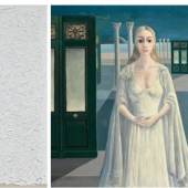 Illustrated from Left to Right: Robert Ryman, Contract, sold for $2.7 million; Paul Delvaux, L'Impératrice, sold for $1.2 million