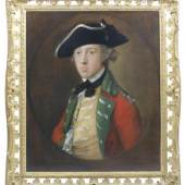Los 77 Thomas Gainsborough, R.A. (Sudbury 1727-1788 London) Portrait of an officer, traditionally identified as the future General James Wolfe (1727-1759), half-length, in military uniform with a scarlet coat with green facings and a yellow waistcoat with loops of lace, Verkauft für £146.500 (€186.363) inkl. Zuschlag