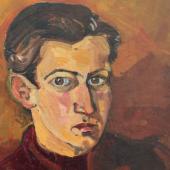 Selbstbildnis/Ausschnitt, 1937 Öl auf Karton Sammlung Polzer/Mayer