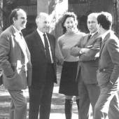 Left to right: Eugenio Gerli, Fulgenzio Borsani, Valeria Borsani, Osvaldo Borsani, and Marco Fantoni at Villa Borsani in the 1960s