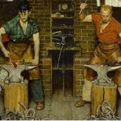 Norman Rockwell Blacksmith's Boy – Heel and Toe Estimate $7/10 Million Blacksmith's Boy – Heel and Toe illustration © SEPS licensed by Curtis Licensing Indianapolis, IN. All rights reserved.