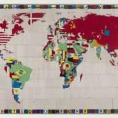 Alighiero Boetti, Mappa, 1988, Stickerei auf Stoff auf Keilrahmen, Foto: Wilfried Petzi, München