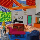 David Hockney Montcalm Interior with Two Dogs 72 by 60 in. 182.9 by 152.4 cm Painted in 1988. Estimate $9/12 Million
