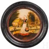 Altmeister-Gemälde. Das bezaubernde, gerade einmal 25 Zentimeter messende, runde Beispiel feinster flämisch bäuerlicher Genremalerei  Zuschlag: 57.500 Euro